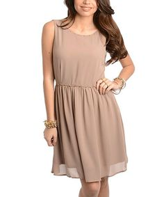 Another great find on #zulily! Mocha Embellished Scoop Neck Dress #zulilyfinds