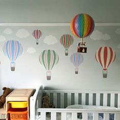 Nursery stencils - Sky theme - Hot Air Balloon Stencil - Paint this hot air balloon stencil on walls, fabrics and furniture. Nursery decor and home craft stencils from Ideal Stencils. Baby Room Themes, Nursery Themes, Nursery Decor, Nursery Ideas, Wall Decor, Balloon Painting, Balloon Wall, Nursery Hot Air Balloon, Balloon Ideas