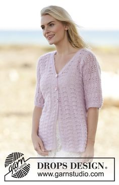 Free knitting patterns and crochet patterns by DROPS Design Knit Cardigan Pattern, Sweater Knitting Patterns, Drops Patterns, Lace Patterns, Crochet Patterns, Drops Design, Summer Knitting, Free Knitting, Top Pattern