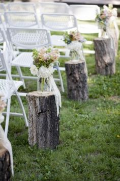 bottles on wood stumps wedding aisle | +Tim Country Wedding | Twigs Posies | Colorado Springs, CO Wedding ...