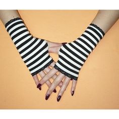 Black and White Misa Misa Gloves, Fingerless, Striped Armwarmers,... ($20) ❤ liked on Polyvore