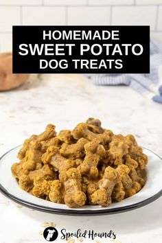 Sweet Potato Dog Treats made with sweet potato, banana, egg, coconut oil, and oat flour. Get the easy recipe and find out how to make the best sweet potato treats for dogs. These crunchy homemade sweet potato dog treats are less expensive than store-bought and have simple ingredients with no preservatives. #dogtreats #homemadedogtreats #diydogtreats