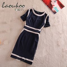 New Arrival Spring And Summer Women Dress Fashion Stitching colors Block Decoration Slim OL One-Piece Dress short-sleeve Black * Click on the image for additional details.