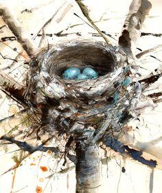 bird nest with 3 eggs - Saatchi Online Artist: Lucy Newton; Other, Mixed Media nest: