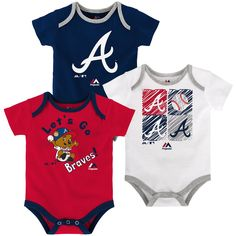 Your tiny fan can show off their Atlanta Braves pride three different ways with this sweet little Onesie set! The shirts are made of a soft and stretchy cotton knit and each one is screen printed with a different design including official Braves team colors and logos. The fold over collar and triple snap closure at the bottom make for quick and easy changes sure to suit Mom & Dad.