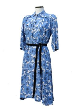Vintage 1940s Rayon Dress, Blue and White Floral Pattern