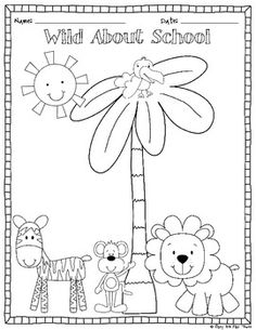 freebie back to school color page and writing center image 2 kindergarten - Kindergarten Coloring Page