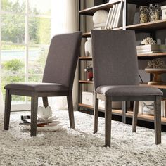 Inspire Q Ridgefield Industrial Weathered Upholstered Dining Side Chairs