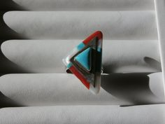 Sky Blue Jet Inlay Sterling Silver Modernist Ring,Triangular Shape by pasttimejewelry on Etsy