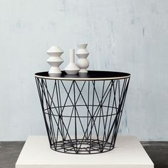 Ferm living bordplate til wire basket small 3 ref pinterest the beautiful interlinked geometric shapes can hold all kinds of objects and with the fitted wooden top they turn into side tables wire baskets greentooth Images