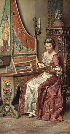 A young beauty learning the harpsichord. Fortunino Matania (Italian, 1881-1963). Oil on canvas.After WW I, Matania switched to scenes of ancient high life for the British woman's magazine, Britannia and Eve. He filled his London studio with reproductions of Roman furniture, pored over history books for suitably lively subjects. Then, with the help of models and statues, he began to paint such subjects as Samson & Delilah.