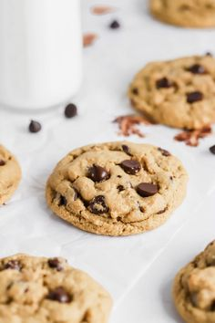 Healthy Chocolate Chip Cookies, Gluten Free Chocolate Chip Cookies, Gluten Free Cookies, Delicious Cookie Recipes, Healthy Recipes, Healthy Desserts, Fun Desserts, Yummy Treats, Free Recipes