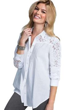 White Lace Splice Long Sleeve Her Fashion Button Down Shirt