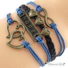 Armband Herzchen & Hope blau schwarz  im Organza Beutel