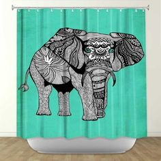 Artistic Shower Curtain | Pam Gallegos  Pom Graphic Design | Elephant Of  Namibia Color |