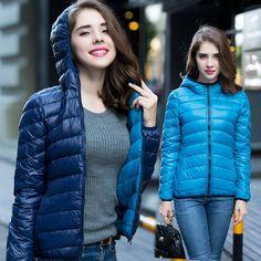2016 Women Winter Coat Two Side Women 90% White Duck Down Jacket Women's Hooded Ultra Light Down Jackets Warm Winter Coat Parkas alishoppbrasil