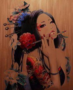 Painting with geisha influences Geisha Tattoos, Japanese Drawings, Japanese Art, Tattoo Girl Wallpaper, Geisha Art, Graphisches Design, Art Asiatique, Chinese Art, Love Art