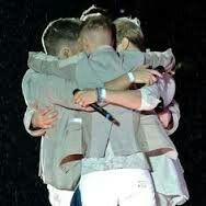 A hug that made me cry..i miss you lads