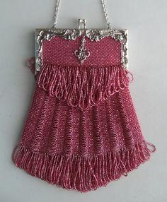 ٠•●●♥♥❤ஜ۩۞۩ஜஜ۩۞۩ஜ❤♥♥●   Vintage Beaded Pink Purse  ٠•●●♥♥❤ஜ۩۞۩ஜஜ۩۞۩ஜ❤♥♥●