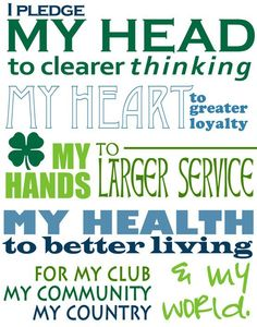 4-H pledge - if you're between the ages of 9 and 21 and thinking of becoming a farmer, 4-H is a great place to start. It's great no matter what career you might follow!