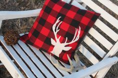 Flannel Deer Pillow by JanaGraceDesign on Etsy, $25.00