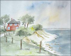 Am Brodtener Steilufer (Ostsee) - Aquarell - 24 x 30 cm - Original