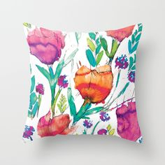 """Throw pillow available in indoor or outdoor quality in: 16"""", 18"""", 20"""" Cover only or Cover and Pillow Insert - Bold, Bright watercolor Floral, turq, pink, red, black, magenta, navy, twiight, ceylon, citron, ochre, gold, amber, spring green, berry, pretty floral, cheerful, home decor"""