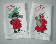 Vintage Applique Christmas Towel Pair Merry by unclebunkstrunk