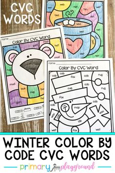 Are you working on CVC words? These color by code CVC word pages are a fun and engaging way to practice CVC words. They work great as morning work, small groups, individual work, centers, word work and homework. #cvcwords #kindergarten #colorbycode # colorbycodecvcwords