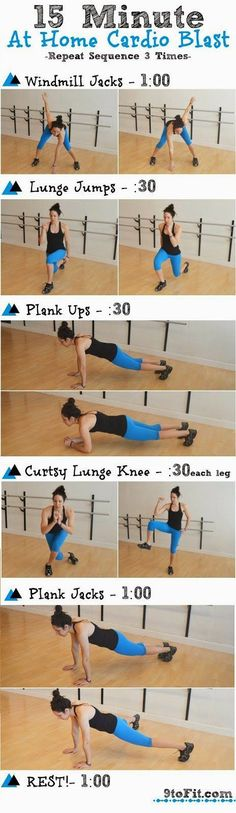 15 Minute At Home Cardio Blast Workout #cardioworkoutathome| Posted By: NewHowToLoseBellyFat.com