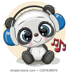 Cartera de fotos e imágenes de stock de Reginast777 | Shutterstock Panda Kawaii, Cute Panda Cartoon, Cute Cartoon Animals, Bear Cartoon, Cute Animals, Baby Animals, Cute Bear Drawings, Cute Cartoon Drawings, Cartoon Pics