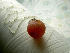 Lost Your Marbles - red sandblasted agate marble sterling silver necklace