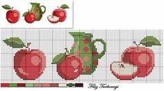 (Red Apple) Designed by Filiz Türkocağı: Cross Stitch Fruit, Cross Stitch Kitchen, Cross Stitch Cards, Beaded Cross Stitch, Cross Stitch Borders, Modern Cross Stitch, Cross Stitching, Cross Stitch Embroidery, Cross Stitch Patterns