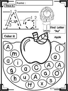 Alphabet Worksheets - Fruits and Animals by Piccobee Preschool Writing, Homeschool Kindergarten, Preschool Learning Activities, Preschool Worksheets, Kids Learning, Preschool Letters, Teaching Resources, Alphabet Worksheets, Alphabet Activities