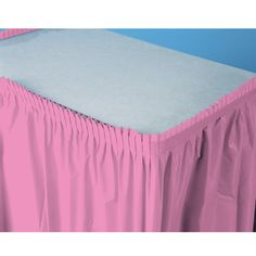 "Candy Pink (Hot Pink) Plastic Table Skirt Includes (1) Plastic Table Skirt. 29"" H x 14' W. Weight (lbs) 0.35 Length (inches) 14.75 Width (inches) 8.75 Height(inches) 1.5"
