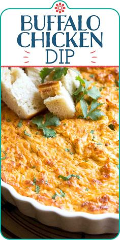 Buffalo Chicken Dip! Here's how to make buffalo chicken dip that's cheesy, creamy, and spicy. It's perfect for a Game Day party or tailgate, and ready in just 30 minutes. #simplyrecipes #buffalochicken #dip #tailgate