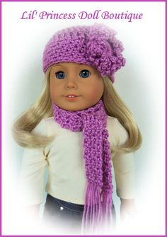 Fits American Girl Doll, 2 Pc BLACKBERRY (Choice of colors), Crochet Hat and Scarf Set, 18 Inch Handmade