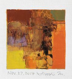 27 november 2014 - origineel Abstract olieverfschilderij - 9 x 9 schilderij (9 x 9 cm - app. 4 x 4 inch) met 8 x 10 inch mat