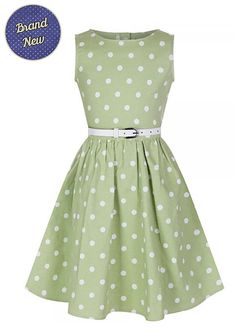 Children's Girls Vintage Style Tarragon Green Polka by MyVintage