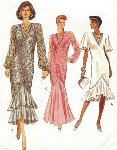 80s Vogue Sewing Pattern 7669 Womens Cocktail or by CloesCloset