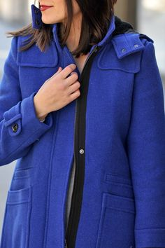 Spice up your coat rotation with our bright blue wool-blend duffle coat. It's the perfect addition to cure those winter blues. Styled by My Style Vita | Banana Republic