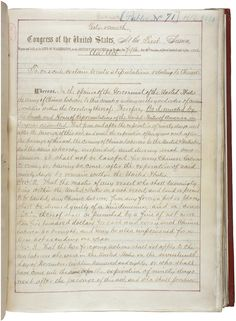 An act to execute certain treaty stipulations relating to the Chinese, May 6, 1882. The Chinese Exclusion Act was the first significant law restricting immigration into the United States. It provided an absolute 10-year moratorium on Chinese labor immigration.
