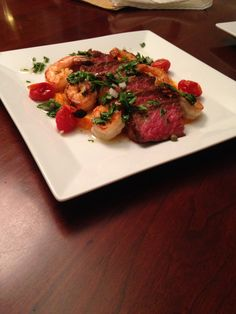 A fantastic Surf n' Turf with Sweet Potato Puree, Blistered Tomatoes and a Salsa Verde!