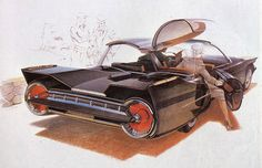 "1958 Student Sketch  ""The dramatic, jet-tube after burner effect is enhanced by the precise bumper blade, but the most surprising element is the crisp, angular styling that anticipated the look of the seventies.""    Art and text from Sentinel by Syd Mead (Dragon's Dream, 1979)  The Syd Mead Project"
