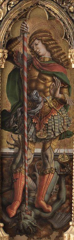 Carlo e Vittore Crivelli- Polittico di Monte San Martino(pannello con san Michele arcangelo 71 x 47 cm) ,tempera e oro su tavola, 285x227 cm, 1477-1480 circa, chiesa di San Martino vescovo a Monte San Martino, provincia di Macerata.