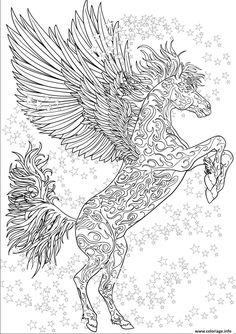 Coloriage cheval adulte licorne ailes antistress etoiles Dessin à Imprimer