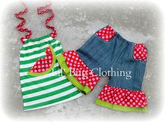 Custom Boutique Green Stripes Watermelon by LilBugsClothing
