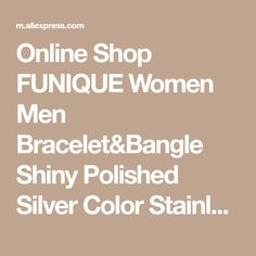 Online Shop FUNIQUE Women Men Bracelet&Bangle Shiny Polished Silver Color Stainless Steel Bracelet Heart Star Cross Charm Cuff Bracelets New | Aliexpress Mobile