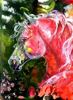 Ruby Stallion Painting by Sherry Shipley - Ruby Stallion Fine Art Prints and Posters for Sale