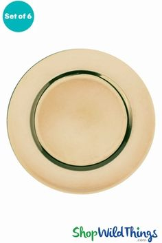 Enhance your everyday table and centerpiece decor or event and wedding decor with affordable pieces like this elegant set of Metallic Brushed Gold Charger Plates from ShopWildThings!